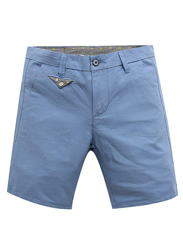 Casual Zip Fly Solid Color Summer Shorts For Men - LIGHT BLUE 32