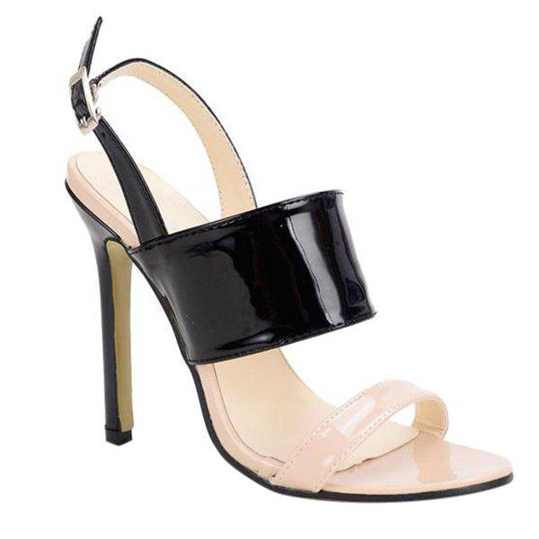 Trendy Colour Block and Patent Leather Design Women's Sandals - BLACK 35