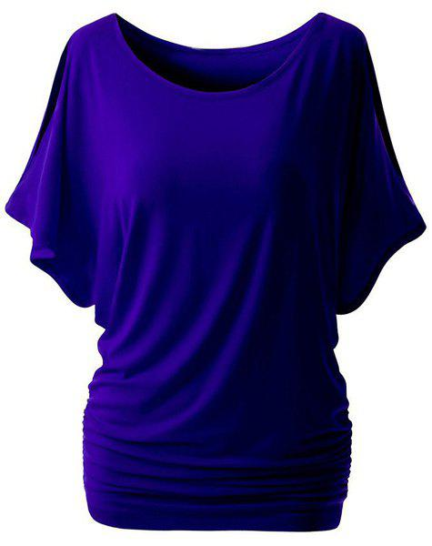 Trendy Bat Sleeve Round Neck Pure Color Cut Out T-Shirt For Women