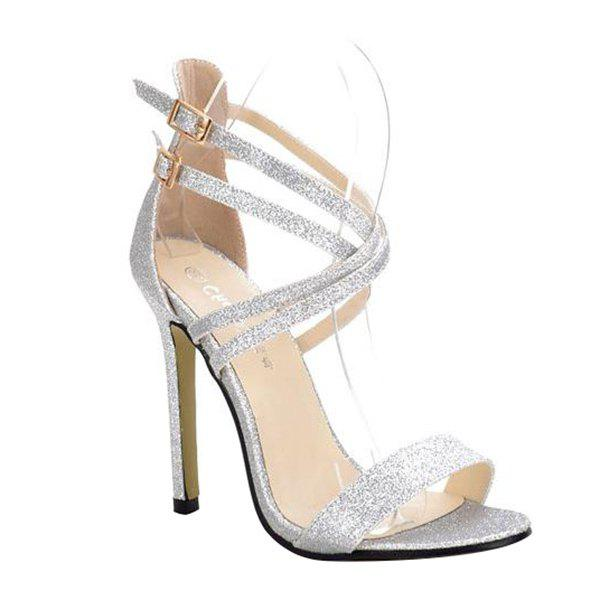 Fashionable Sequined Cloth and Double Buckle Design Women's Sandals - SILVER 39