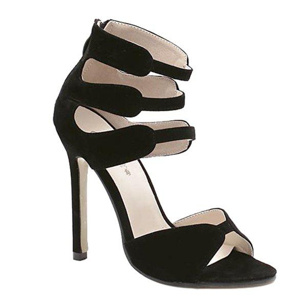 Stylish Zip and Stiletto Heel Design Women's Sandals - BLACK 37