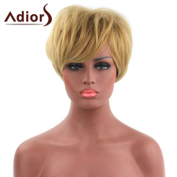 Faddish Fluffy Short Capless Side Bang Gold Synthetic Adiors Wig For Women adiors hair fluffy side bang straight short capless synthetic wig