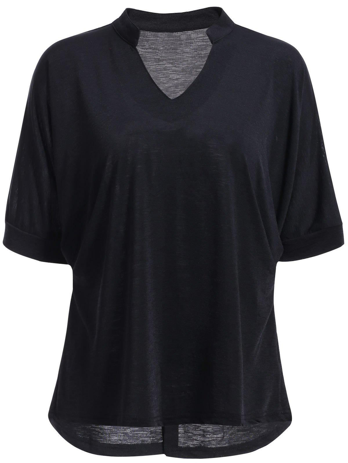 Stylish stand collar half sleeve solid color t shirt for for Stand collar shirt womens