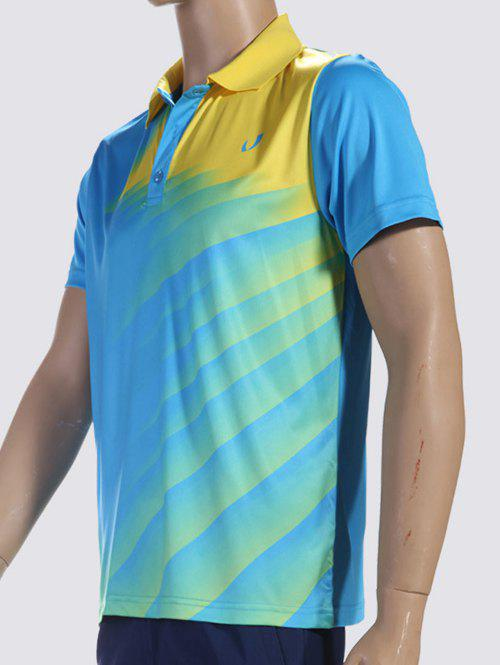Ombre Turn-Down Collar Short Sleeve Men's Sports Polo T-Shirt - BLUE M