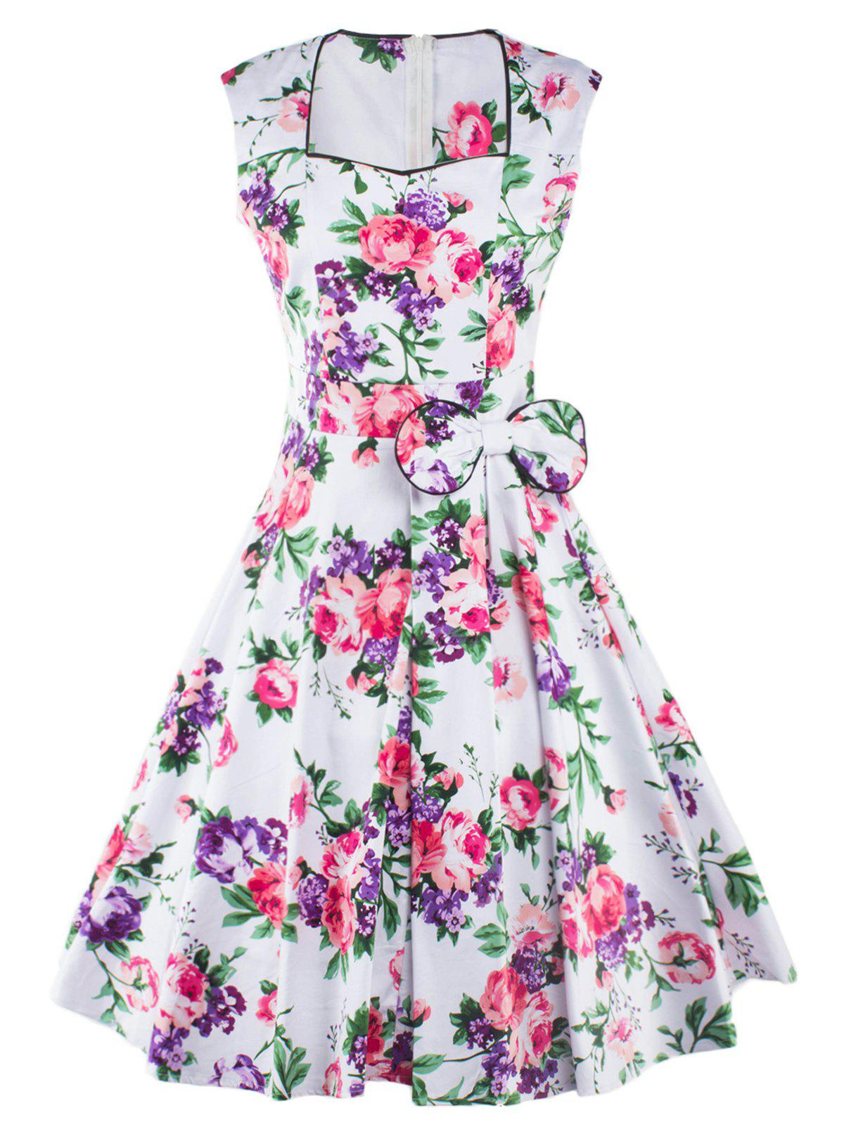Retro Sleeveless Sweetheart Neck Floral Pattern Womens DressWomen<br><br><br>Size: M<br>Color: WHITE