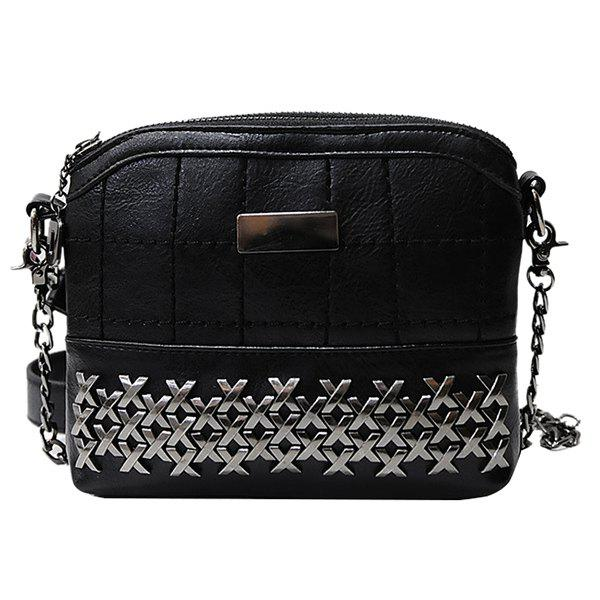 Simple Metal and Chain Design Women's Crossbody Bag - BLACK