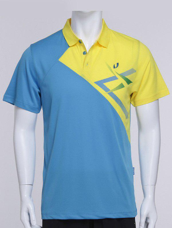 Color Block Splicing Turn-Down Collar Short Sleeve Men's Sports Polo T-Shirt - BLUE M