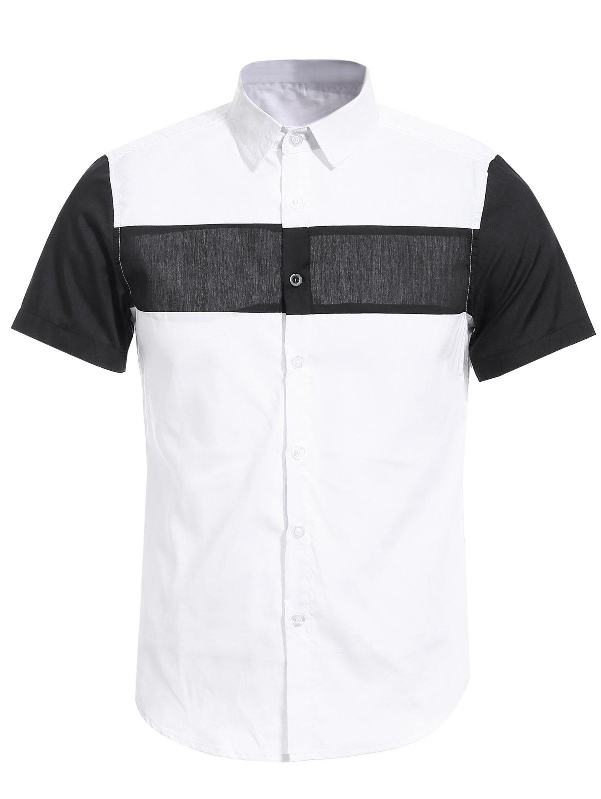 Vogue Shirt Collar White and Black Spliced Men's Short Sleeves Shirt - WHITE M