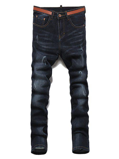 Men's Casual Ripped Straight Legs Solid Color Zip Fly Jeans - BLACK GREY 28