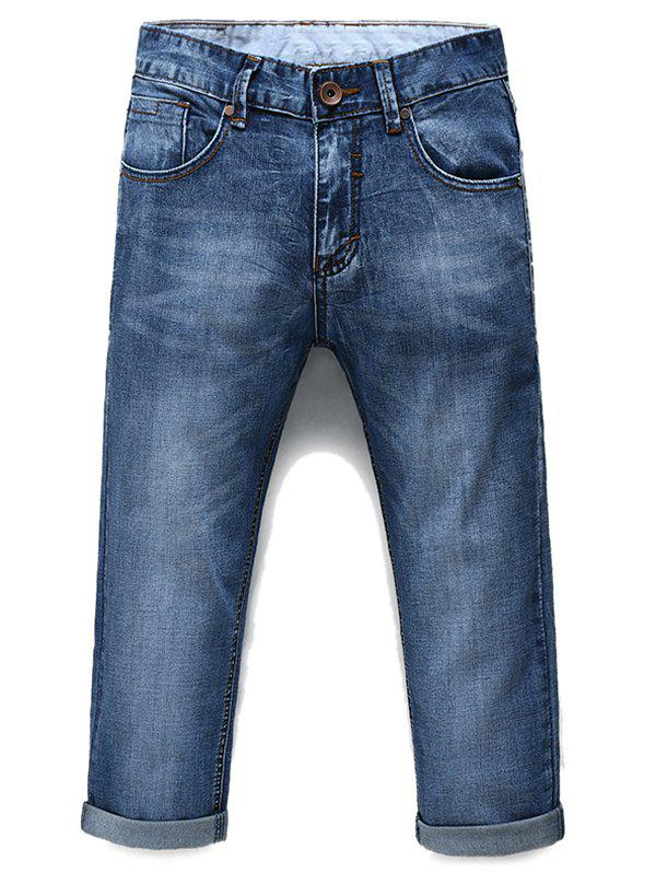 Men's Fashion Straight Legs Solid Color Zip Fly Cropped Jeans