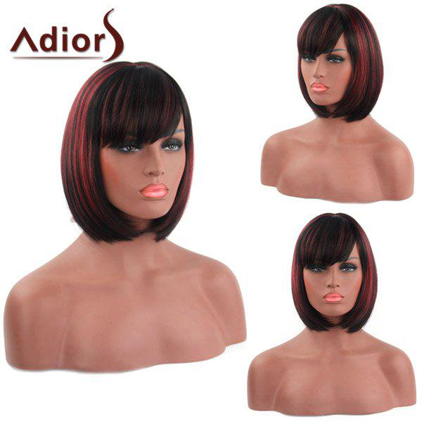 Fashion Short Side Bang Synthetic Bob Style Straight Capless Adiors Wig For Women fashion neat bang trendy bob synthetic short straight green capless wig for women