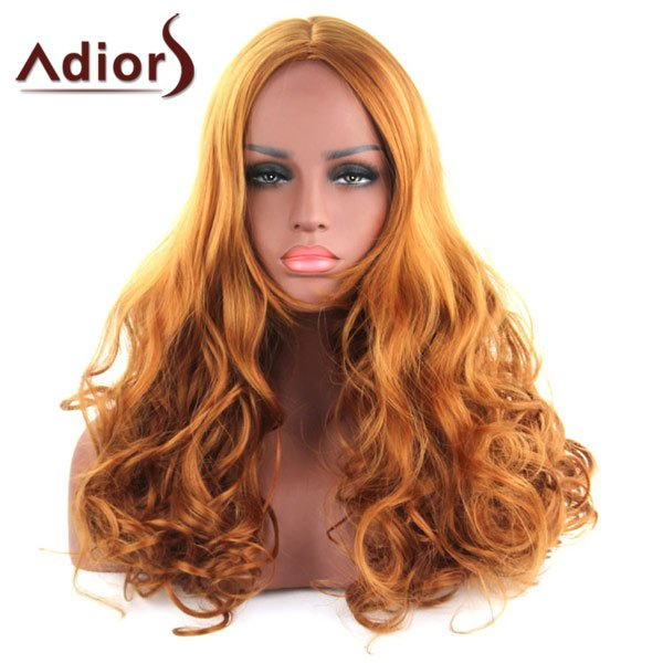 Stylish Long Wavy Part Golden Mixed Brown Capless Synthetic Adiors Wig For Women