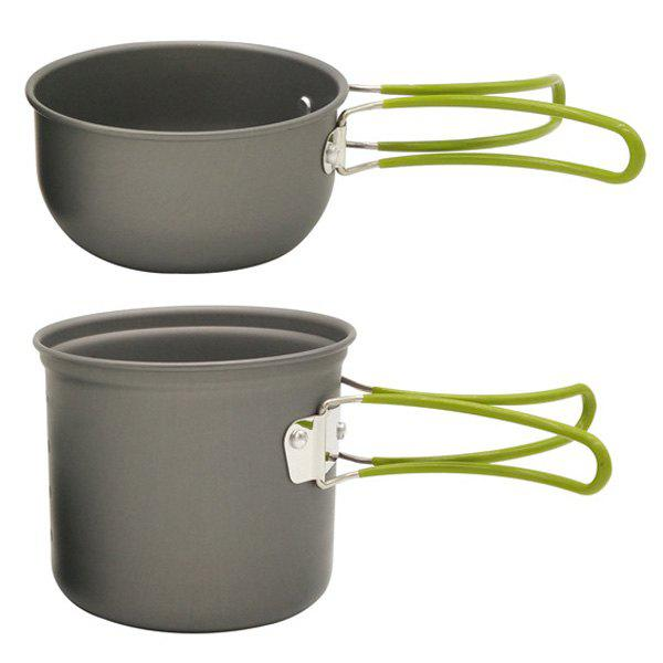 Ensemble de vente chaude en plein air Ustensiles Outil Oxyde d'aluminium Jacketed Kettle Pot Lid - Noir
