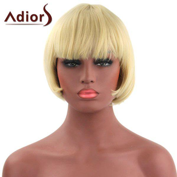 Bob Style Light Blonde Capless Stylish Short Straight Synthetic Adiors Wig For Women