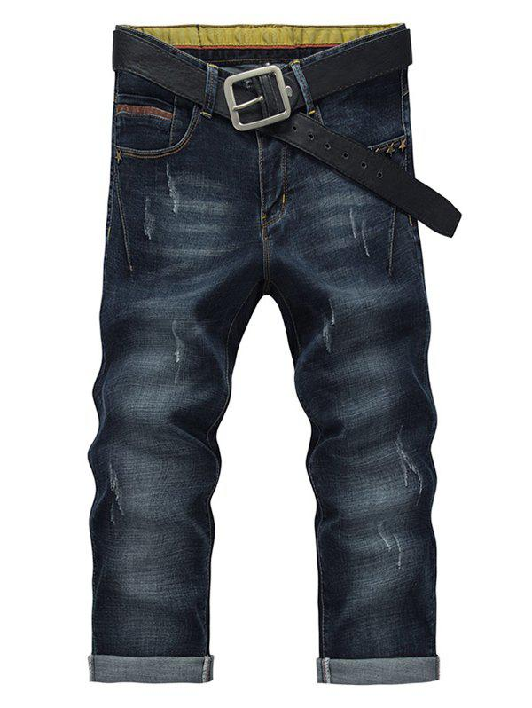 Men's Fashion Straight Legs Solid Color Cropped Jeans
