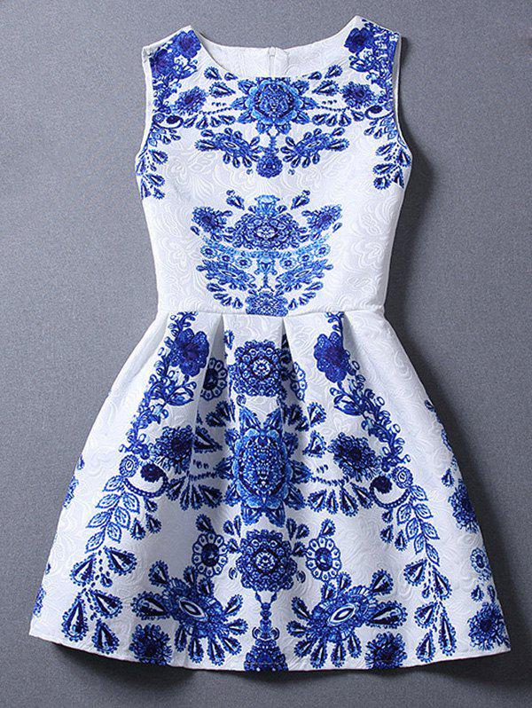 Cute Women's Sleeveless Blue and White Porcelain Print Dress - LIGHT BLUE M