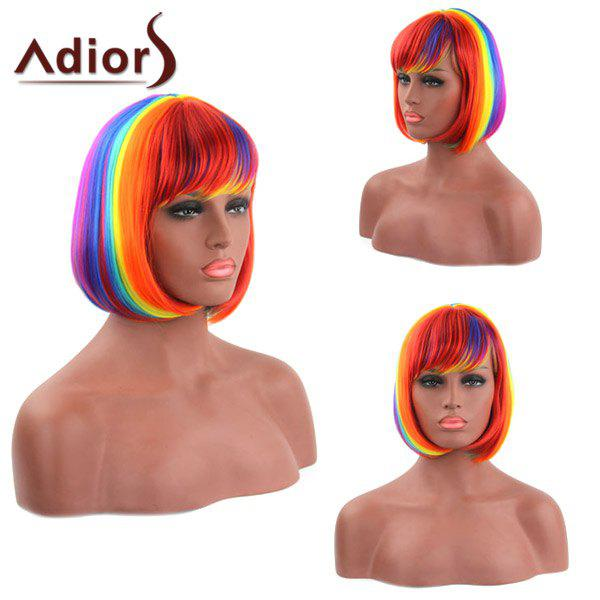Bob Style Straight Synthetic Stylish Rainbow Color Short Capless Adiors Wig For Women