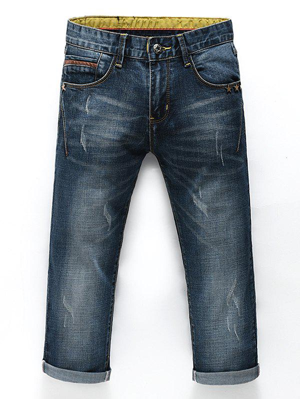 Men's Fashion Straight Legs Zip Fly Cropped Jeans