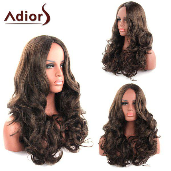 Shaggy Curly Long Synthetic Charming Dark Brown Centre Parting Women's Capless Adiors Wig - DEEP BROWN