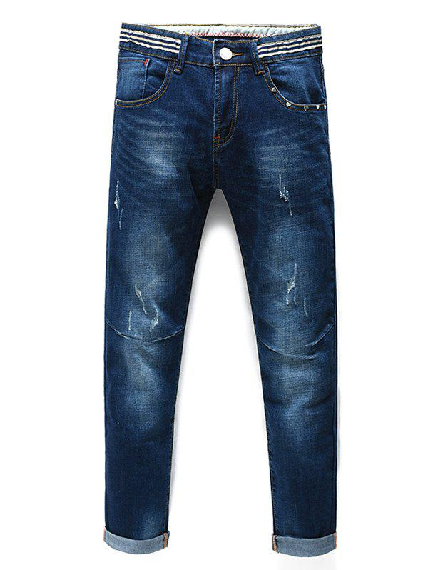 Men's Fashion Straight Legs Striped Cropped Jeans - BLUE 31