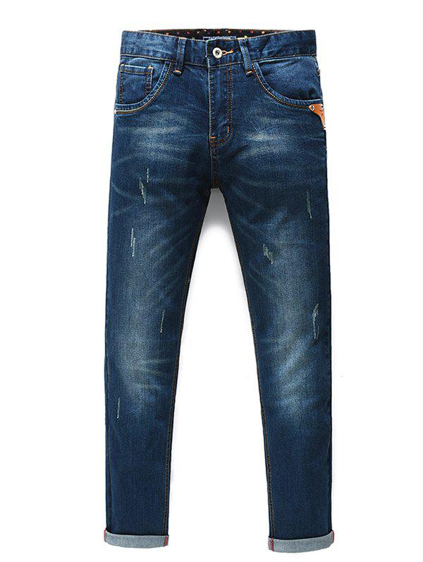 Men's Fashion Straight Legs Cropped Jeans - BLUE 29