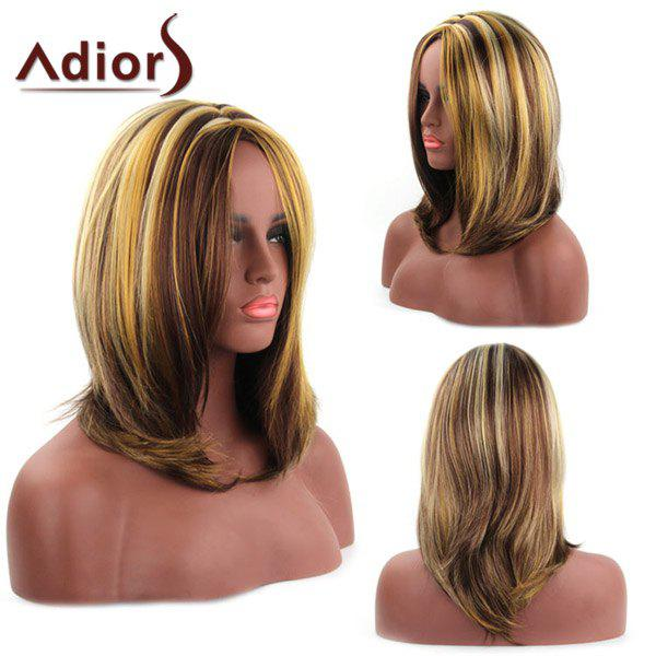 Elegant Medium Capless Natural Straight Mixed Color Women's Synthetic Adiors Wig - COLORMIX