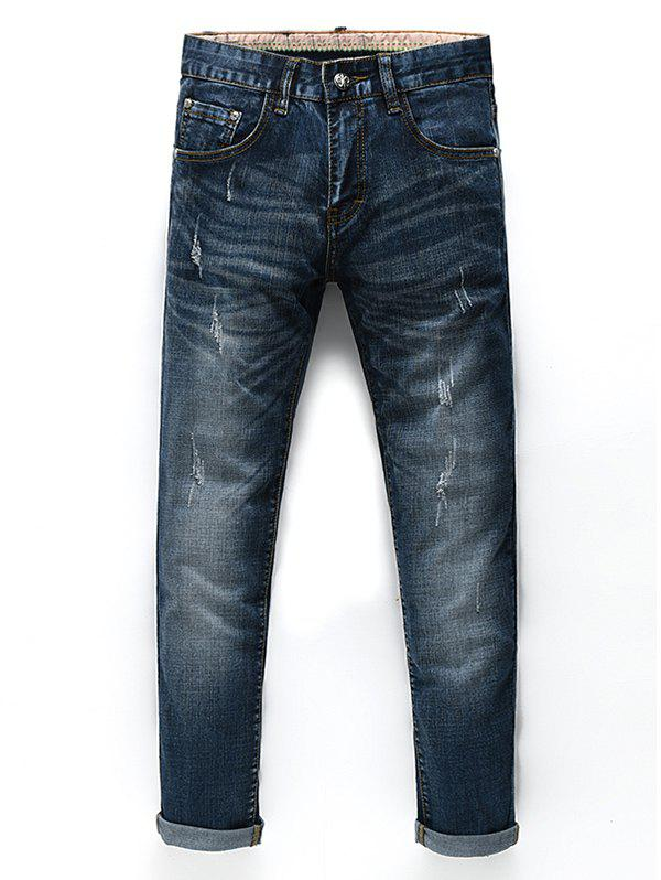 Men's Fashion Zip Fly Straight Legs Cropped Jeans - BLACK GREY 31