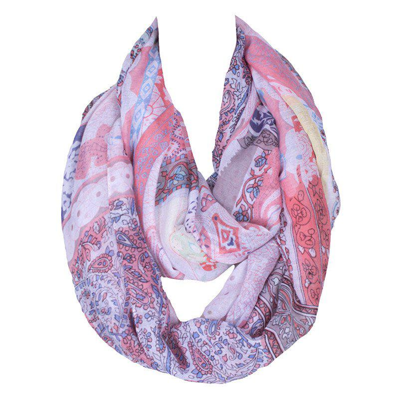 Chic Tribal Style Printed Women's Voile Bib Scarf - PINK