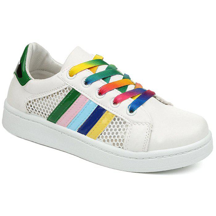 Stylish Striped and Splicing Design Women's Athletic Shoes - WHITE/GREEN 38
