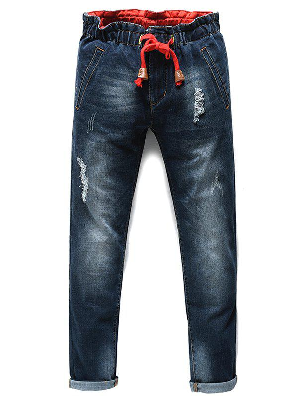 Men's Fashion Lace Up Straight Legs Cropped Jeans - BLACK GREY 34