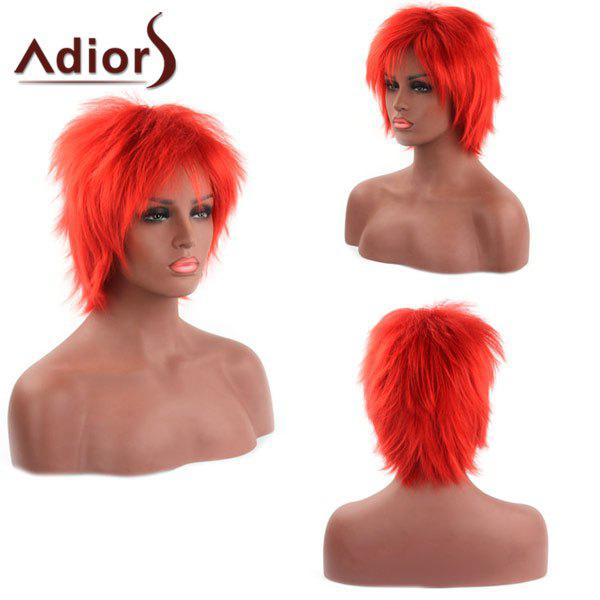 Vogue Fluffy Short Straight Side Bang Orange Red Capless Synthetic Adiors Wig For Women vogue medium dark brown synthetic shaggy wave side bang capless adiors wig for women
