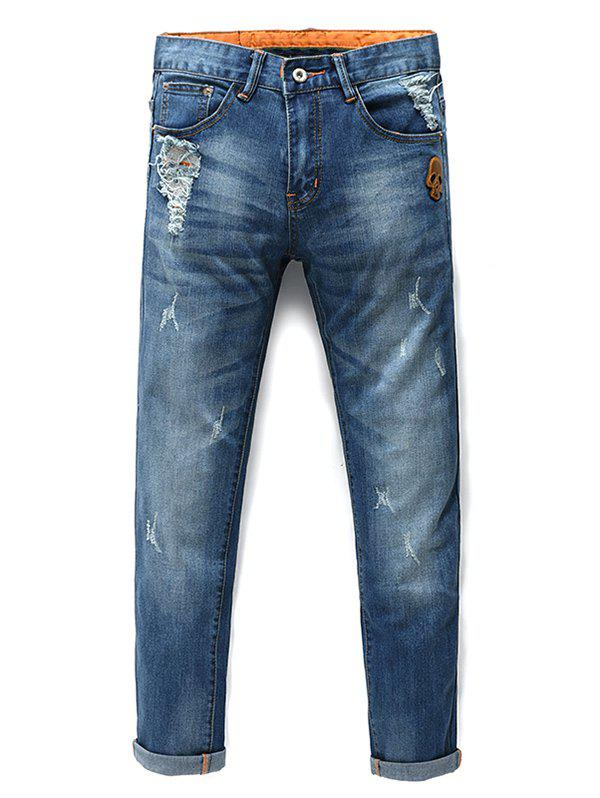 Men's Fashion Zip Fly Skull Straight Legs Cropped Jeans - BLUE 28