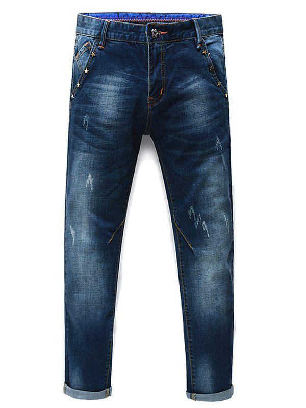 Men's Fashion Zip Fly Stars Straight Legs Cropped Jeans - BLUE 31