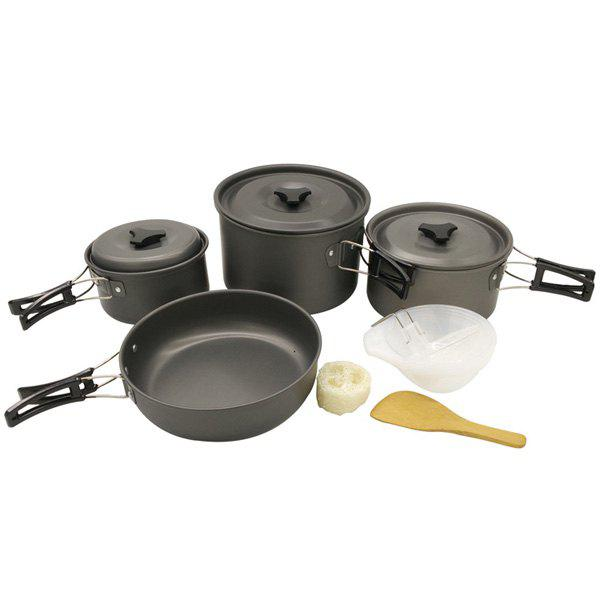 Set of High Quality 4-5 Person Outdoor Camping Picnic Cookware Frying Pan Aluminium Oxide SaucepanHome<br><br><br>Color: BLACK