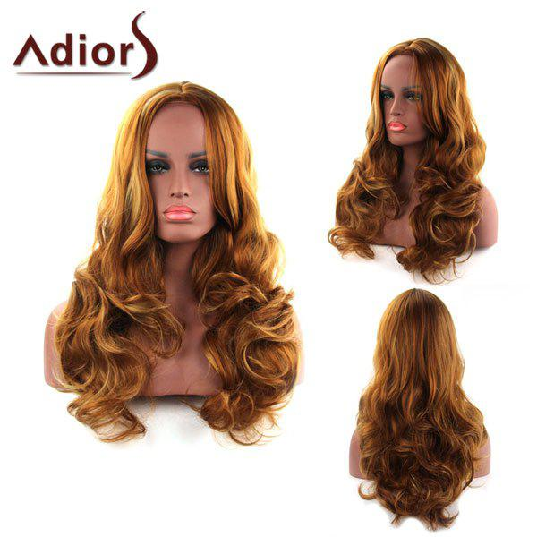 Shaggy Wave Middle Part Capless Charming Brwon Long Synthetic Wig For Women