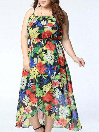 Chic Spaghetti Strap Floral Print Asymmetrical Plus Size Women's Dress
