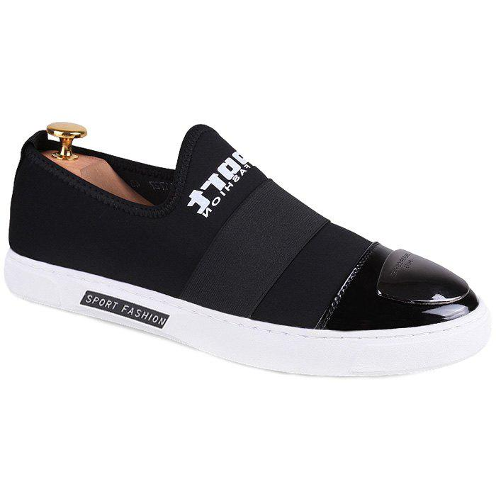Trendy Elastic Band and Metal Design Men's Casual Shoes - BLACK 38