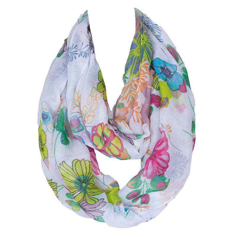Chic Watercolor Flowers Pattern Women's Voile Bib Scarf -  WHITE