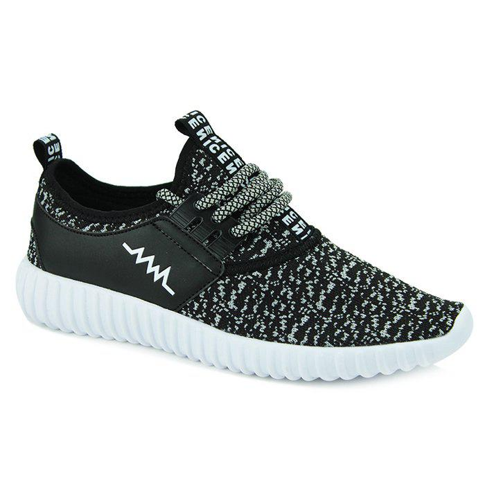 Sports Style Letter and Splicing Design Men's Casual Shoes - BLACK 41