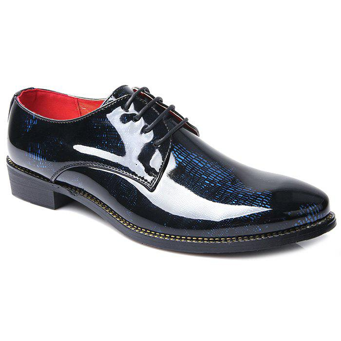 Stylish Color Block and Lace-Up Design Men's Formal Shoes - BLUE 40