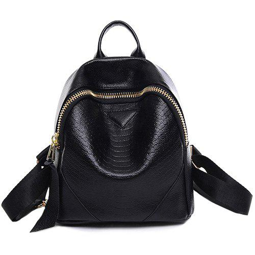 Fashion Black Color and Zip Design Women's Satchel - BLACK