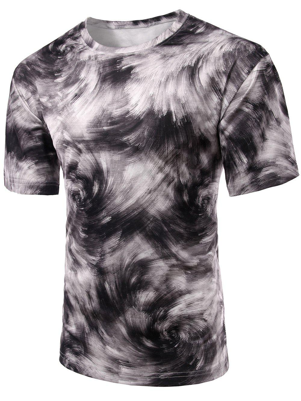 Abstract Print Round Neck Short Sleeve Stylish Men's T-Shirt - COLORMIX S