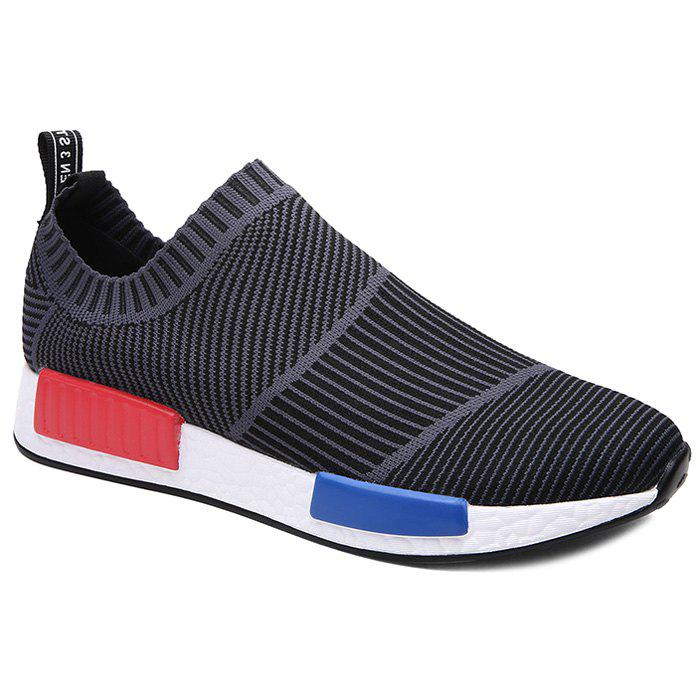 Stylish Color Block and Stripes Design Men's Casual Shoes - BLACK/GREY 39