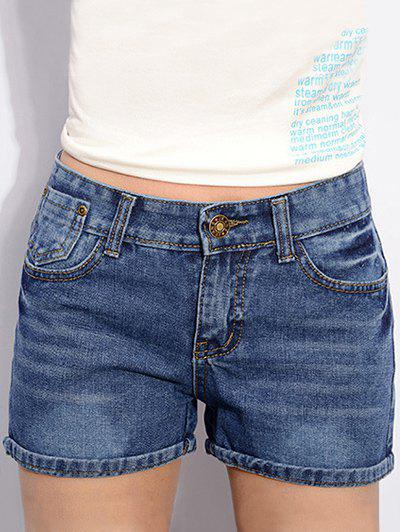 Trendy Snow Wash Slimming Rolled-Up Solid Color Shorts For Women