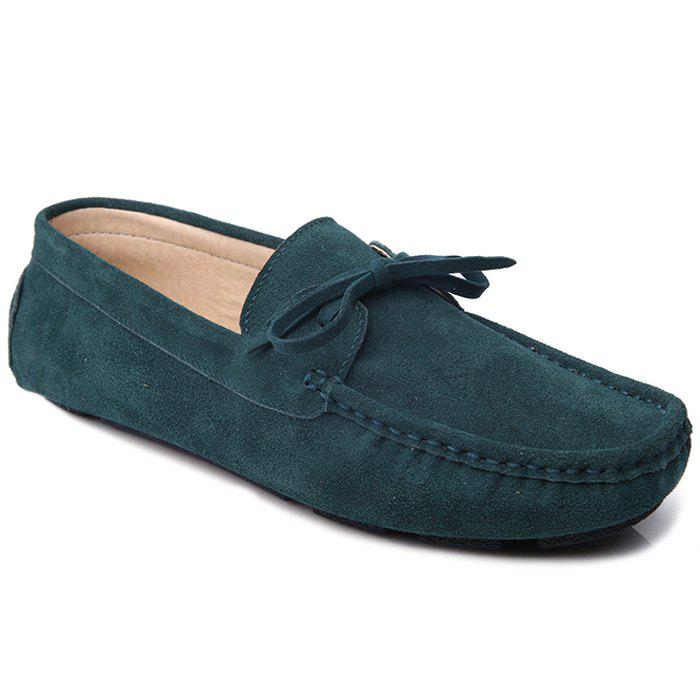 Trendy Lace-Up and Suede Design Men's Casual Shoes - BLACKISH GREEN 43