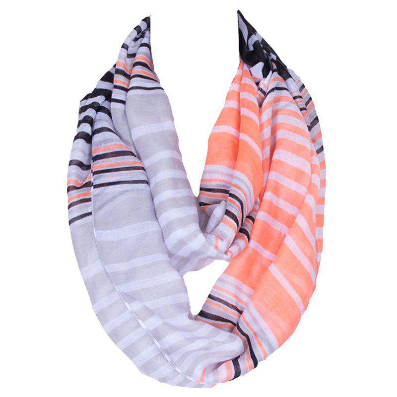 Chic Multicolor Stripes Pattern Women's Voile Bib Scarf - LIGHT GRAY