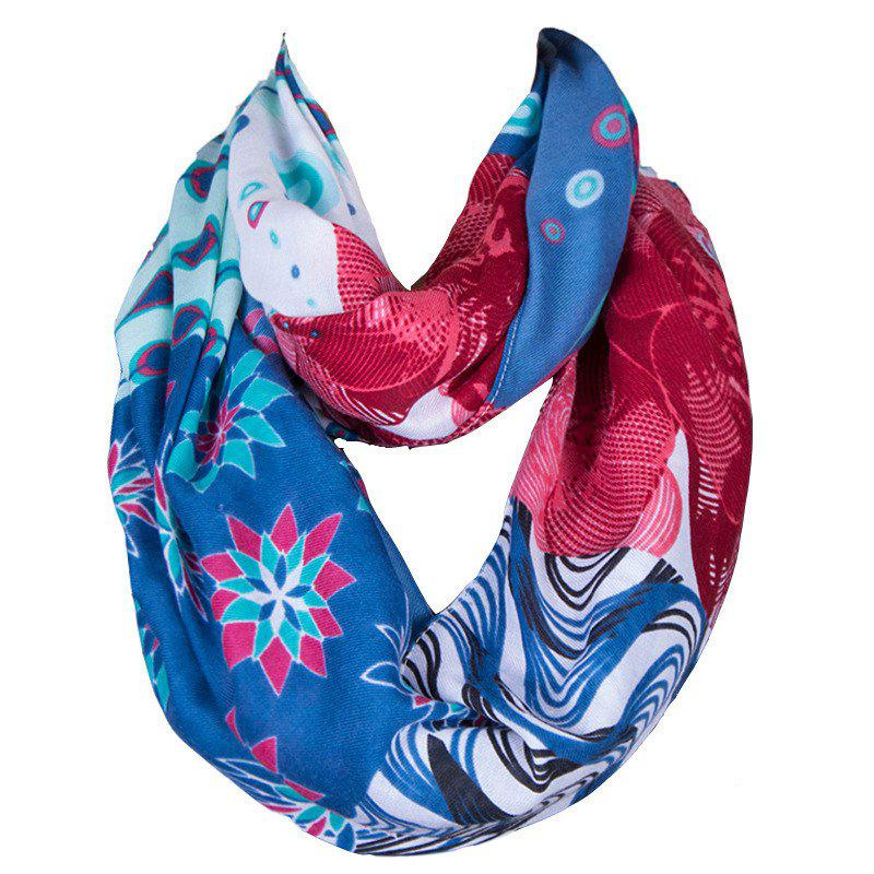 Chic Bohemian Style Handpainted Pattern Women's Hipsters Voile Bib Scarf - BLUE