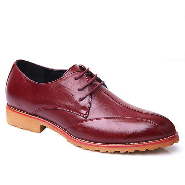 Trendy Stitching and PU Leather Design Men's Formal Shoes - WINE RED 43