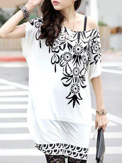 Bohemian Floral Print Loose-Fitting Short Sleeve T-Shirt For Women - WHITE ONE SIZE(FIT SIZE XS TO M)