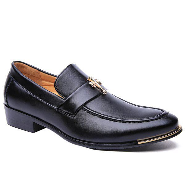 Stylish PU Leather and Metal Cross Design Men's Formal Shoes - BLACK 43